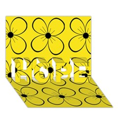 Yellow floral pattern HOPE 3D Greeting Card (7x5)