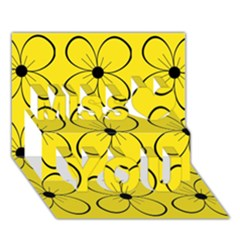 Yellow Floral Pattern Miss You 3d Greeting Card (7x5)