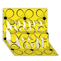 Yellow floral pattern THANK YOU 3D Greeting Card (7x5)