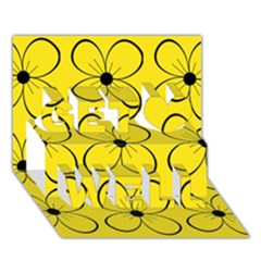 Yellow floral pattern Get Well 3D Greeting Card (7x5)