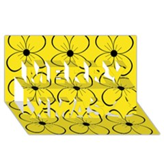 Yellow floral pattern Merry Xmas 3D Greeting Card (8x4)