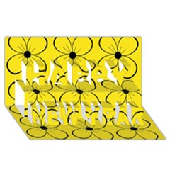Yellow floral pattern Happy New Year 3D Greeting Card (8x4)