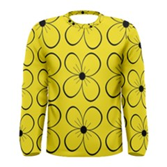 Yellow floral pattern Men s Long Sleeve Tee