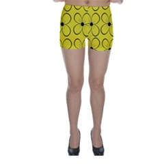 Yellow floral pattern Skinny Shorts