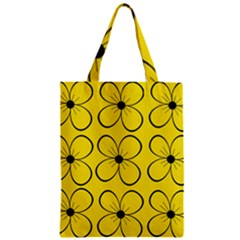 Yellow floral pattern Zipper Classic Tote Bag