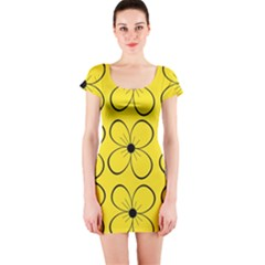 Yellow floral pattern Short Sleeve Bodycon Dress