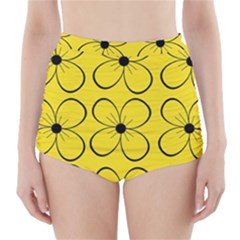 Yellow floral pattern High-Waisted Bikini Bottoms
