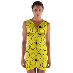 Yellow floral pattern Wrap Front Bodycon Dress