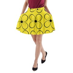 Yellow floral pattern A-Line Pocket Skirt