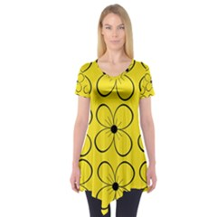 Yellow floral pattern Short Sleeve Tunic