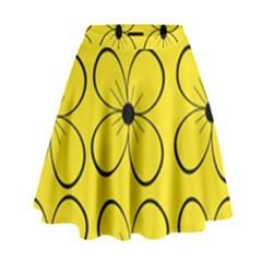 Yellow floral pattern High Waist Skirt