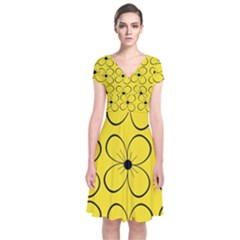 Yellow floral pattern Short Sleeve Front Wrap Dress