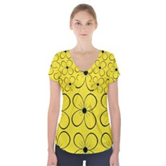 Yellow floral pattern Short Sleeve Front Detail Top