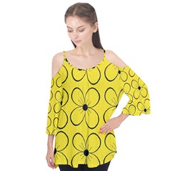 Yellow floral pattern Flutter Tees
