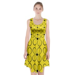 Yellow floral pattern Racerback Midi Dress