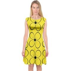Yellow floral pattern Capsleeve Midi Dress