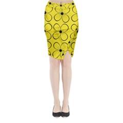 Yellow floral pattern Midi Wrap Pencil Skirt