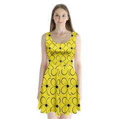 Yellow Floral Pattern Split Back Mini Dress