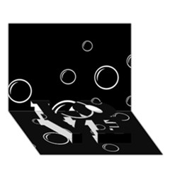 Black and white bubbles LOVE Bottom 3D Greeting Card (7x5)