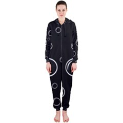 Black and white bubbles Hooded Jumpsuit (Ladies)