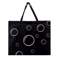 Black and white bubbles Zipper Large Tote Bag