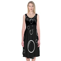 Black and white bubbles Midi Sleeveless Dress