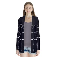 Black and white bubbles Drape Collar Cardigan