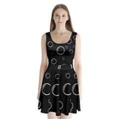 Black And White Bubbles Split Back Mini Dress