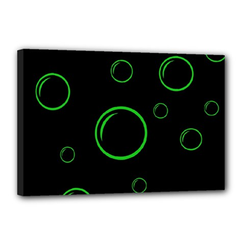 Green buubles pattern Canvas 18  x 12