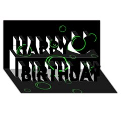 Green buubles pattern Happy Birthday 3D Greeting Card (8x4)