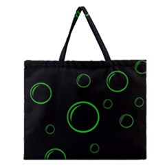 Green buubles pattern Zipper Large Tote Bag