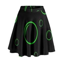 Green buubles pattern High Waist Skirt