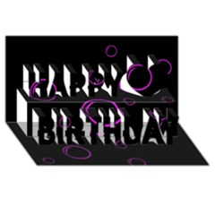 Purple bubbles  Happy Birthday 3D Greeting Card (8x4)