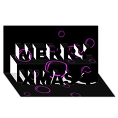 Purple bubbles  Merry Xmas 3D Greeting Card (8x4)