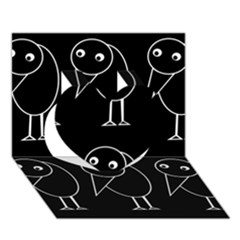 Black and white birds Heart 3D Greeting Card (7x5)