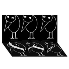 Black and white birds Twin Heart Bottom 3D Greeting Card (8x4)