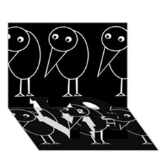 Black and white birds LOVE Bottom 3D Greeting Card (7x5)