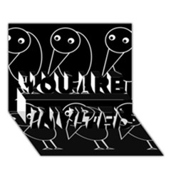 Black and white birds YOU ARE INVITED 3D Greeting Card (7x5)