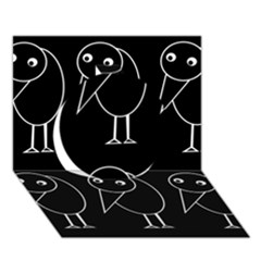 Black and white birds Circle 3D Greeting Card (7x5)