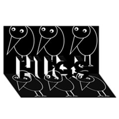 Black and white birds HUGS 3D Greeting Card (8x4)