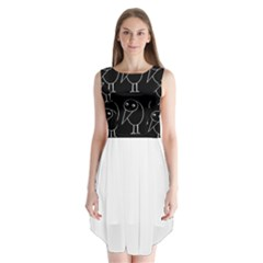 Black and white birds Sleeveless Chiffon Dress