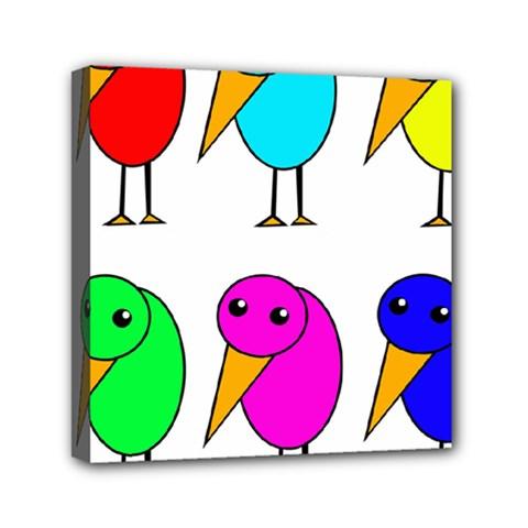 Colorful birds Mini Canvas 6  x 6