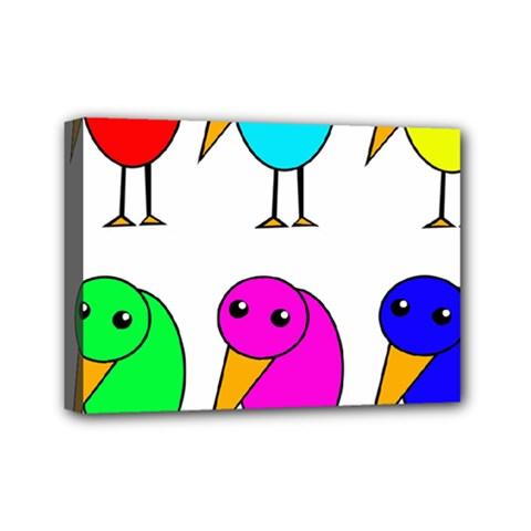 Colorful birds Mini Canvas 7  x 5