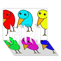 Colorful birds GIRL 3D Greeting Card (7x5)