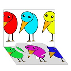 Colorful Birds Heart Bottom 3d Greeting Card (7x5)