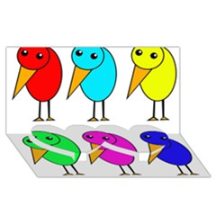 Colorful birds Twin Heart Bottom 3D Greeting Card (8x4)