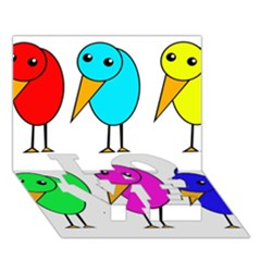 Colorful birds LOVE Bottom 3D Greeting Card (7x5)
