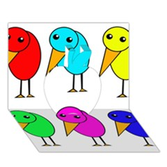 Colorful birds Apple 3D Greeting Card (7x5)