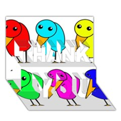 Colorful Birds Thank You 3d Greeting Card (7x5)