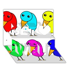 Colorful birds Get Well 3D Greeting Card (7x5)